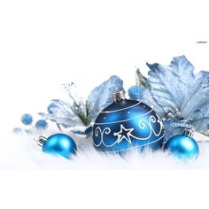 Blue Christmas Ornaments Wallpapers ❤ liked on Polyvore
