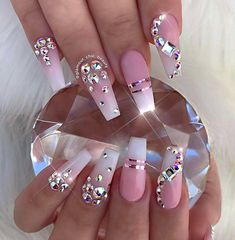12 unique trending nail art designs for Hot nail right nail now in fashion. Stiletto nails, rainbow almond nails, Ombre rounded nail art designs for summer. Fancy Nails, Cute Nails, Pretty Nails, My Nails, Prom Nails, Sparkle Nails, Bling Stiletto Nails, Pink Bling Nails, Salon Nails