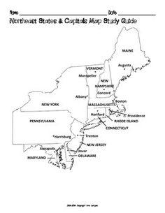 FREE US Northeast Region States & Capitals Maps | worksheets ...