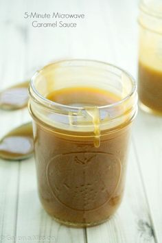 Easy homemade 5-minute microwave caramel sauce that tastes so much better than store-bought! I've never looked back.