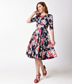 881214e826 Vintage Style Navy Blue   Floral Toulouse Print Half Sleeve Hepburn Swing  Dress Koronkowe Sukienki