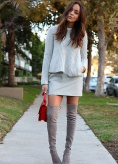 Ashley M-Chunky knit with a skirt, nicely done.