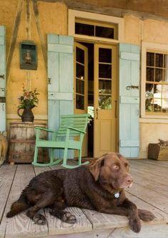 cenac dog on porch cottag porch, creol cottag, colors, front doors, dollhous worthi, color combinations, porch décor, front porches, miniatur hous