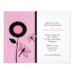 Baby shower invitations in pink green dragonflies zazzle gift dragonfly baby shower invitations in pink black filmwisefo Images