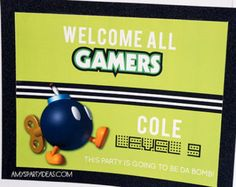 Gamer Party Banner Gaming Truck Video Gamer INSTANT by lulucole