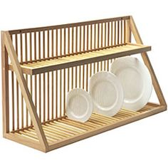 wooden plate rack on PopScreen kitchen plate storage Cabinet Plate Rack, Plate Rack Wall, Diy Plate Rack, Plate Shelves, Plate Storage, Wooden Dish Rack, Wooden Plate Rack, Wooden Plates, Kitchen Racks Wooden