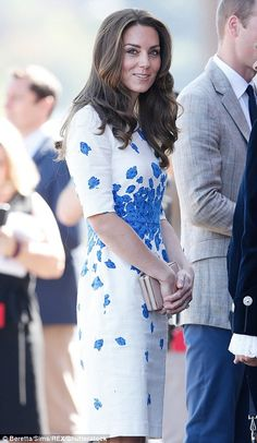 Back to work! Kate recycles a £245 blue and white LK Bennett dress as she and William show off their holiday tans while visiting a youth project in Luton | Daily Mail Online