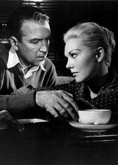 James Stewart & Kim Novak in Vertigo (1958, dir. Alfred Hitchcock)
