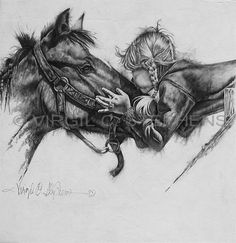 Unconditional Love, romantic little girl kissing her horse, pencil drawing by western Artist Virgil C. Stephens