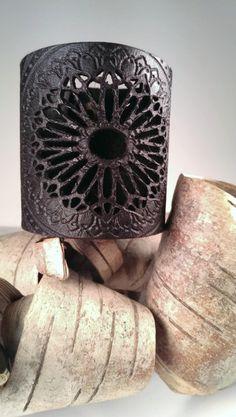 Black Laser Engraved Tribal Mandala Leather Cuff by studioValyr