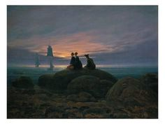 Giclee Print: Moon Rising over the Sea (See also Image Number 479), 1822 by Caspar David Friedrich : 24x18in Nocturne, Caspar David Friedrich Paintings, Casper David, Google Art Project, Sailboat Painting, William Turner, Oil Painting Reproductions, Famous Art, Fine Art