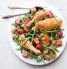 Roast Chicken & Bread Salad with Haricots Verts & Strawberries More
