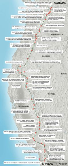 Get ready to hike the Pacific Crest Trail, or just dream about one of America's iconic long paths, with Backpacker's Pacific Crest Trail map. Thru Hiking, Hiking Tips, Backpacking Tips, Camping And Hiking, Camping List, Tent Camping, Ultralight Backpacking, Winter Camping, Camping Foods