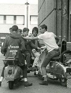 Mods on scooters in Carnaby Street, London, during the filming of 'Steppin' Out', 1979. Photo by Paul Wright.