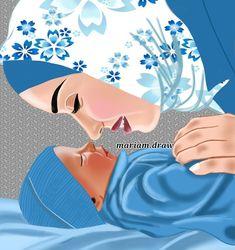 Mother Daughter Art, Mother Art, Girly Drawings, Pencil Art Drawings, Cute Couple Art, Cute Couples, Sarra Art, Hijab Drawing, Pregnancy Art