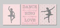 Girls wall art, nursery art, ballerina nursery, french nursery art, musical notes, dance like no one's watching, girls poster, set of 3 8x10...