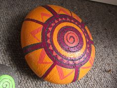 Amazing what you find on Pinterest - one of my own stones painted over five years ago - probably longer! This was painted for a friend to take to Russia as a gift to a host there. I'm not sure who the person but I remember this beautiful stone had a lovely energy, now residing on the other side of the world.