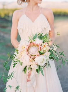 Ruffled Halter Weddi