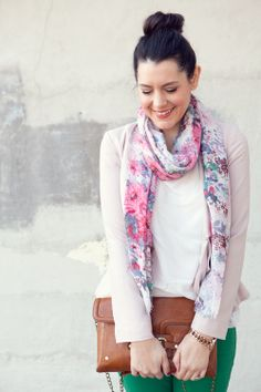 more green pants inspiration...with a neutral top, floral scarf, and brown bag