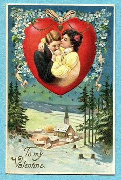 G0685 Langsdorf Valentines Day postcard, Lovers kiss, 1914, Embossed