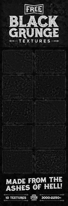 My new collection of 10 free black grunge textures feature dark and grimy tones from the ashes of hell, which is really just a metaphor for my bathroom… Although I have to point out, my bathroom is not the kind of filth ridden place you would expect to find such surfaces (nor is it a …