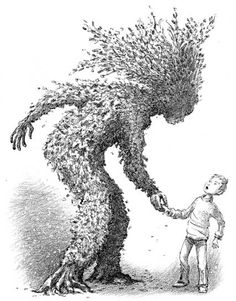 'The Greenman and Thomas', illustrated by Ted Dewan  From the book 'Thomas Trew series' published by Hodder Children's Books in 2008
