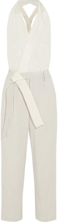 6b6b025bbb0 3.1 Phillip Lim Silk crepe de chine and waffle-knit cotton jumpsuit Cotton  Jumpsuit