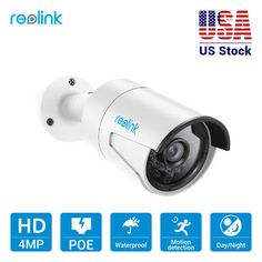 ﹩64.99. Reolink IP CCTV PoE Camera HD Security Cam 4MP 1440P Outdoor with Audio RLC-410   Camera Type - Bullet, Camera Connectivity - IP/Network - Wired, Number of Cameras - 1, Bundle Listing - Yes, Alarm Action - PTF Photo, Email Photo, Audio Function: - Built in Microphone, audio range up to 15ft, Frame Rate - Up to 30fps, Lens - f= 4.0 mm, F=2.0 Viewing Angle: 80°, Night Vision - 65-100ft, Operating Power - POE or 12V DC (Power Adapter not Included), Sensor - CMOS, Supported Mobile