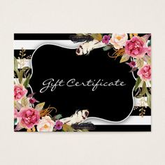 Business Card Gift Certificate Template Certificates Chic Salon Salons Nails