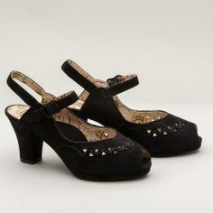 Betty 1940s Platform Sandals by Miss L Fire (Black)