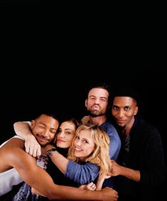 #TO The Originals  Michael Charles Davis(Marcel),Phoebe Tonkin(Hayley),I don't know who that is,Daniel Gillies(Elijah) & Yusuf Gatewood(Vincent)
