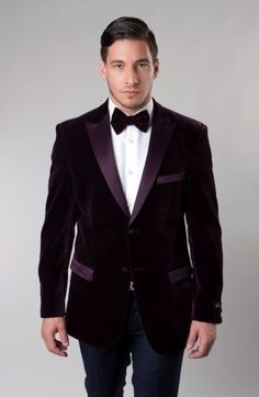 Velvet Blazer Jacket menPeak Lapel with Satin chest pocket  Wine slim  #TAZIOmj114s #TwoButton