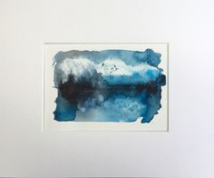 Found/fabricated | Abstract waterscape, mounted, acrylic ink on...