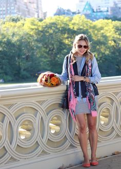 NYC Central Park Bow Bridge wearing Fall layers in @talbots quilted vest, scarf and suede flats