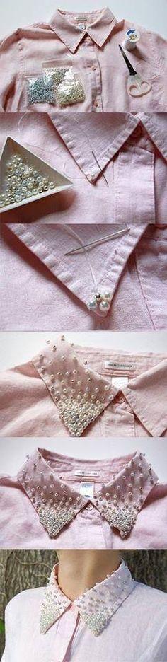 Shirt | Pink | Pearls | DIY | Cuello con perlas