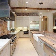 Exposed Brick Kitchen, Country, kitchen, HAR