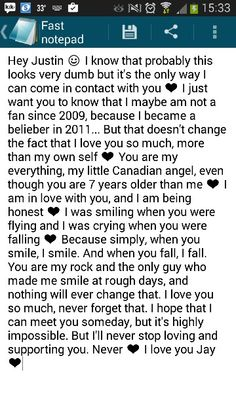 I want this to be my first pin. Justin Bieber is my everything, and I would like to give him that note the day I meet him, after so many years of waiting. He has never had a concert here, he did come, but for some hours, with no one knowing. But I still love and support him. And I always will ❤