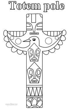 Dessin à colorier d'un totem indien en forme d'aigle