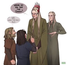 Kili and Fili getting into trouble and Legolas trying to warn them.