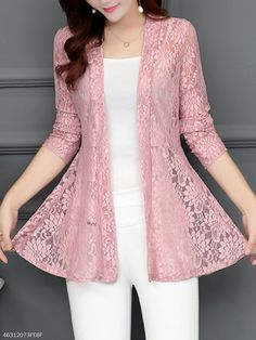 Shop berrylook collarless lace see through plain cardigan online get outfit ideas style inspiration from fashion designers at adorewe com Fashion Design Inspiration, Stil Inspiration, Mode Outfits, Dress Outfits, Fashion Dresses, Fashion Fashion, Fashion Spring, Fashion Clothes, Trendy Fashion