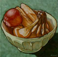 Original oil painting, Fruit bowl, painting of fruit, still life, bananas and apple in a white bowl, original oil painting,