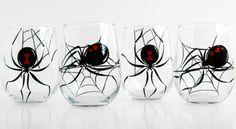 Black Widow Spider Stemless Wine Glasses  Set by MaryElizabethArts, $85.00