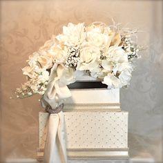 Wedding Card Box, Money Wedding Box, Card Box, Envelope Box Reception Card Box, Hand Made, Unique, Elegantly Created. $119.00, via Etsy.