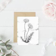 Blank Note Card, Thank You, Botanical Card, Thank You Stationary, PRINTABLE CARDS, Dandelion Card, Black and White, Card for Mom Grandma,