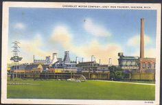 https://flic.kr/p/8NZuEy | Saginaw MI 1930s Chevrolet General Motors GM Grey Iron Foundry Furnaces Casting Area and Powerhouse Curteich Card 3A-H1538 Postmarked Millington