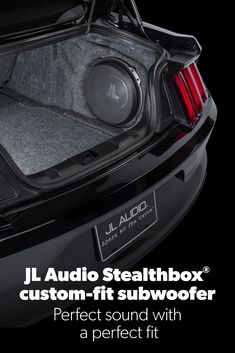 Get big bass without losing space. Vehicle-specific Stealthbox® subwoofer enclosures from JL Audio Volkswagen Jetta, Jetta A4, Custom Car Audio, Custom Cars, Geometric Patterns, Custom Subwoofer Box, Car Audio Installation, Jl Audio, Car Audio Systems