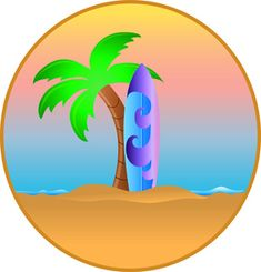 Hawaiian Palm Trees Clip Art | ... : Surfboard Leaning Against a Palm Tree on a Tropical Beach in Hawaii