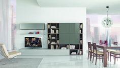 meuble tv bas et bibliothèque dans le salon moderne