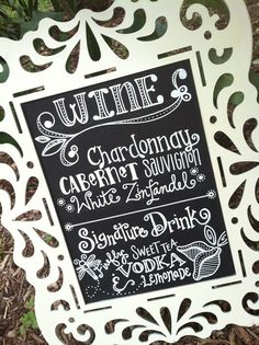 Handwritten Chalkboard Wedding Menu Bar Drink Sign on Etsy, $25.00