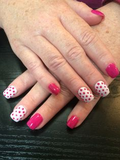 Surmanti hot pink and white dots | Nails by Bex Fisher